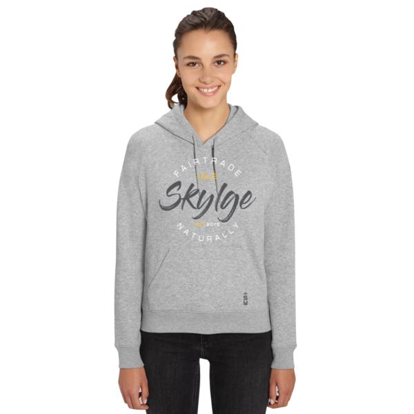 afbeelding van grijze hooded sweater van Skylgewear voor dames