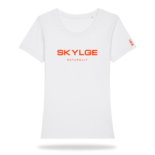 Skylge_dames_Tshirt_fluor_orange_voor